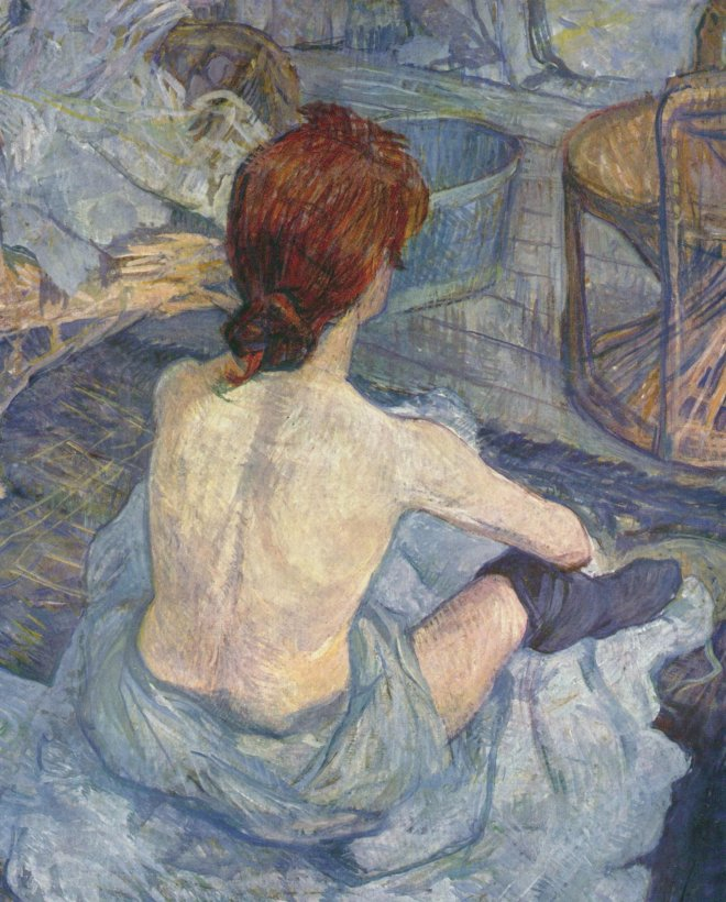La Toilette, oil on board 1896. Henri de Toulouse-Lautrec. Painted by Henri de Toulouse-Lautrec.